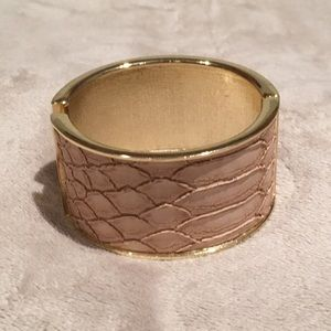 Jewelry - Blush color snakeskin cuff with gold trim